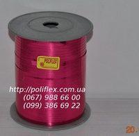 Завязка для цветов и подарков розовая металлизированная