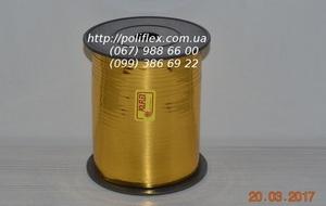Завязка для цветов металлизированная желтая